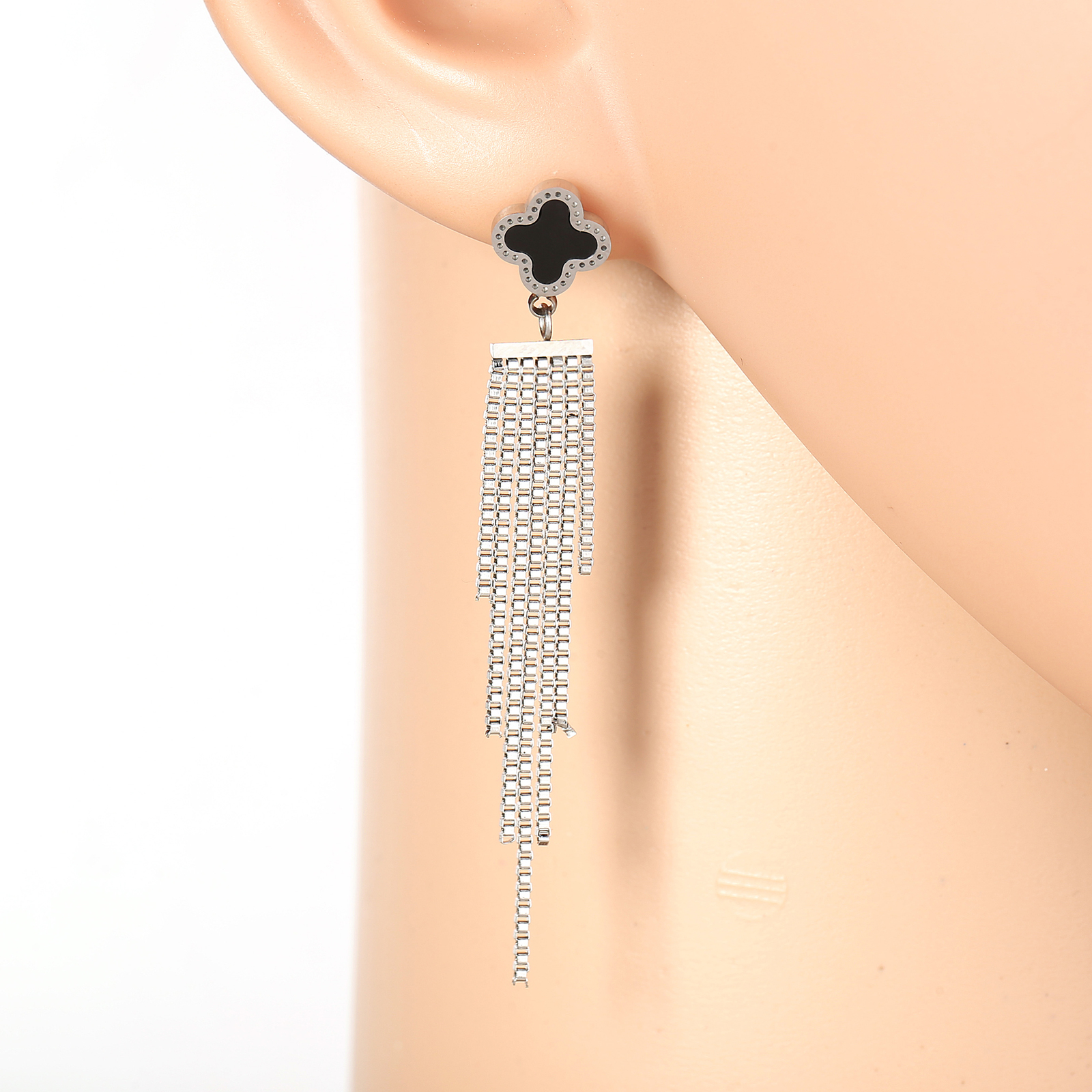 Primary image for Designer Silver Tone Drop Earrings with Jet Black Faux Onyx Clover and Tassels