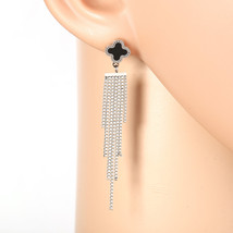 Designer Silver Tone Drop Earrings with Jet Black Faux Onyx Clover and T... - $24.99