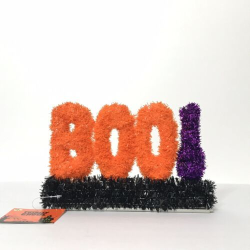 "Primary image for Totally Ghoul Halloween Tinsel Sign Boo! New Orange Purple Black 8"" X 5"" X 1.25"""