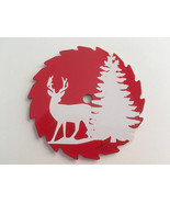 "Deer and Tree Mini Round Sawblade, White Decal on Red, Fridge Magnet, 3""... - $12.50"