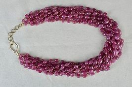 PINK RUBY BEADS CABOCHON 9 LINE 780 CARATS GEMSTONE 18K GOLD LADIES NECKLACE image 7