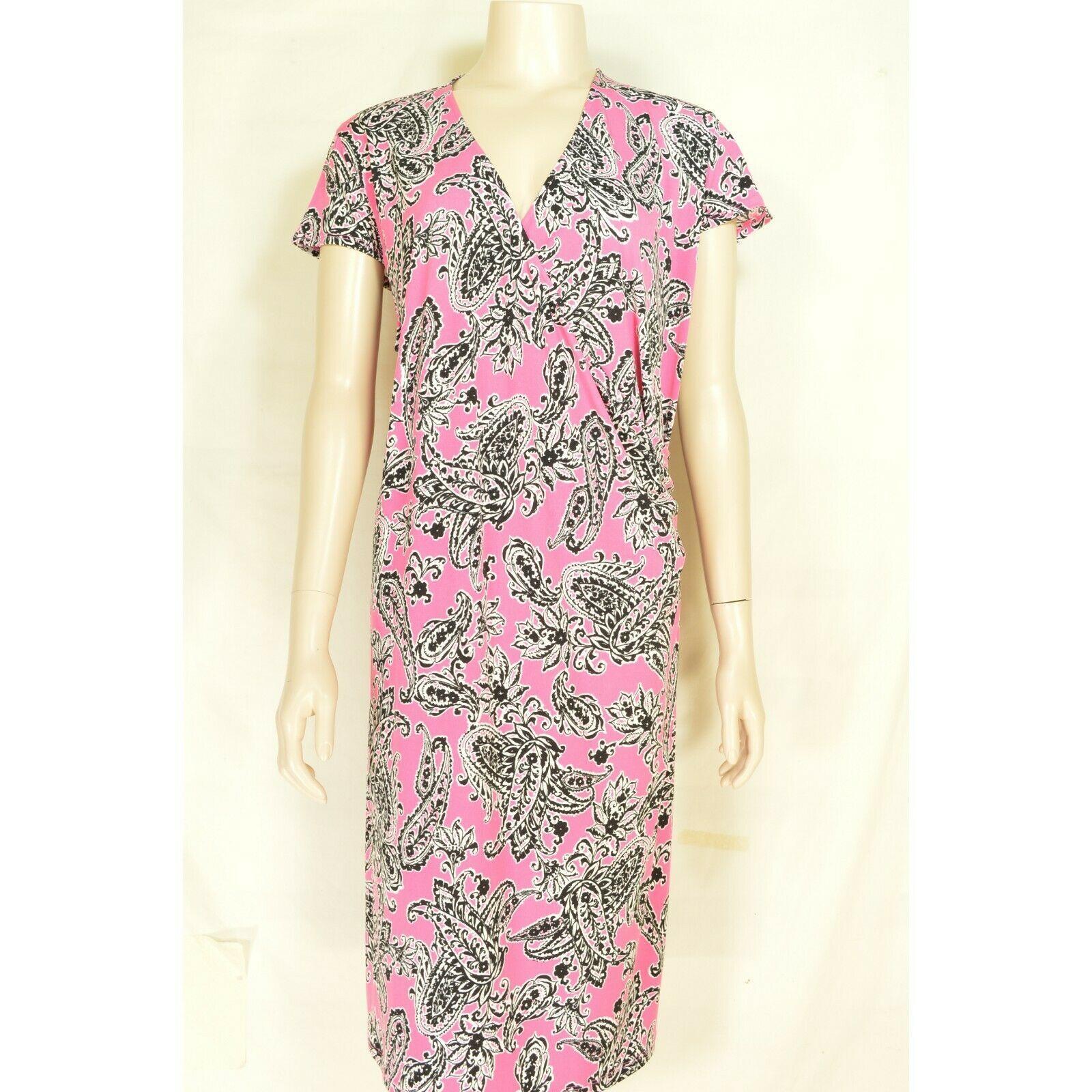 Jones New York dress 2X NWT faux wrap pink black white paisley jersey knit