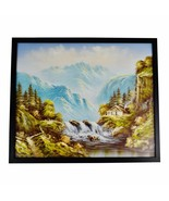 Vintage Framed R. Boren Signed Mountain Waterfall Oil on Canvas Painting  - $395.00