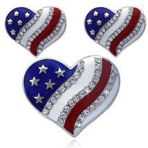 Ring Stud Post Earrings Set 4th of July USA American Flag Patriotic Desi... - $29.98