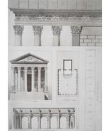 ROME Temple of Antonin & Faustina Restored Views - SUPERB 1905 Espouy Print - $17.28