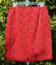 ANN TAYLOR 6 Red Floral Lined Pencil Skirt Career Holiday - $29.95