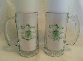 Set of 2 Dragonfest Glass Beer Mugs 25 Years 1985-2010 Heavy Weight - $39.59