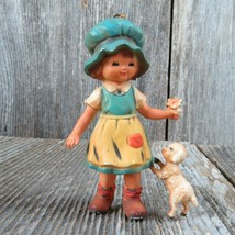 Vintage Girl with Lamb Holding Flower Christmas Ornament 1983 Bradford 7412 - $31.67