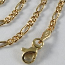 18K GOLD FIGARO CHAIN 2 MM WIDTH 24 INCH LENGTH ALTERNATE NECKLACE MADE IN ITALY image 2