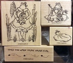 Stampin Up 1998 Frogs and Flies Wood Mounted Stamp Set Unused Retired - $26.72