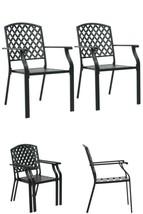 Outdoor Metal Chairs 2 Pcs Patio Hotel Cafe Garden Deck Dining Seats Fur... - $201.47