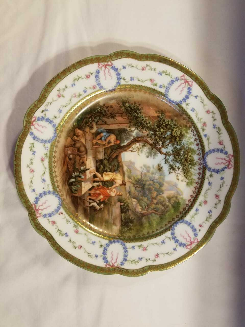 old French porcelain dinner plate, in good conditions. sevres? stamp image 3