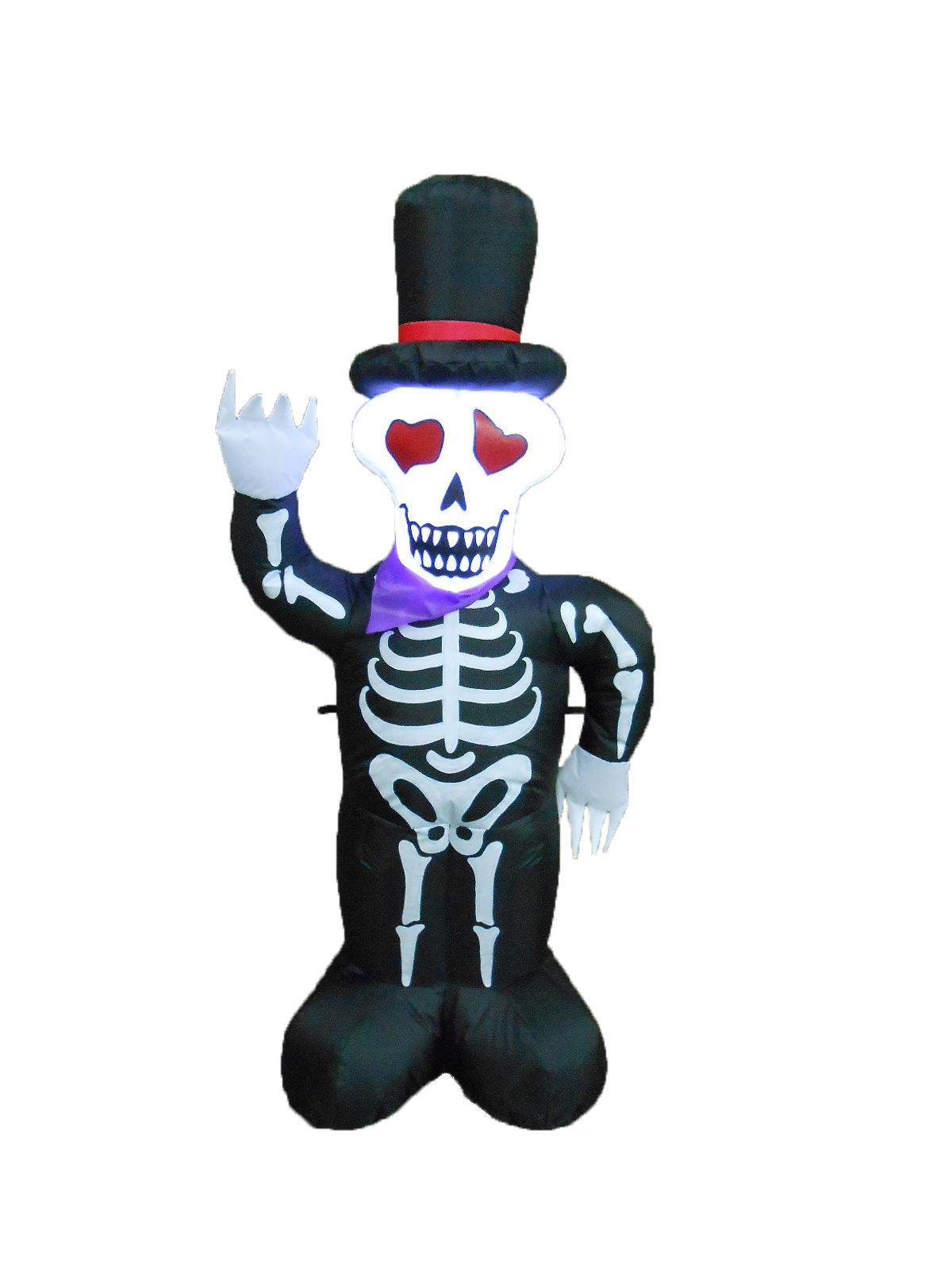 4 Foot Tall Halloween Inflatable Skull Skeleton with Hat Yard Outdoor Decoration