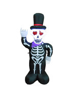 4 Foot Tall Halloween Inflatable Skull Skeleton with Hat Yard Outdoor De... - £35.36 GBP