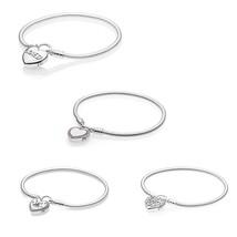 4 Type Love Heart Lock Closure Snake Chain Charms Bracelets for Women Fashion DI - $67.15