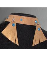 Handmade Headband Choker Earring Genuine Cowhide Leather with Turquoise ... - $25.95