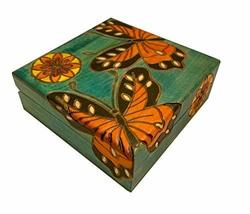MilmaArtGift Butterfly Decorative Box Polish Handmade Linden Wood Girls Keepsake - $32.66