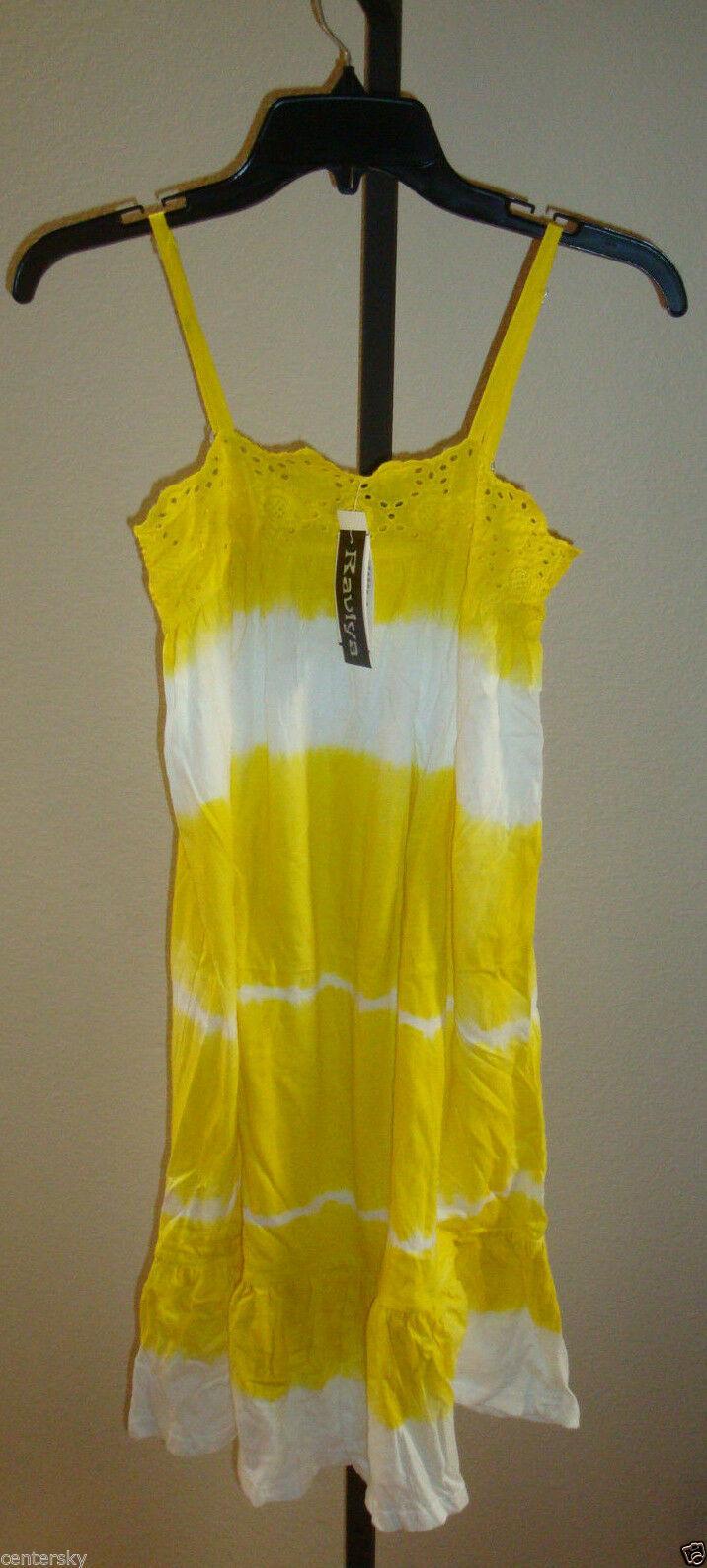New $39 Raviya Women's Swimsuit Cover-up Lounge Beach Dress Yellow Wht Tie Dye S