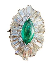 Large Vintage 14k Gold 3.3ct VS Emerald Marquise Diamond Baguette Baller... - $2,668.05