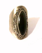 Early .925 Sterling Silver with Black Stone Ring  - $21.95