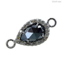 Black Spinel Gemstone Pave Diamond .925 Silver PEAR Charm Connector Find... - $82.90