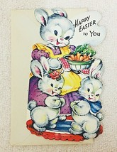 Gibson Vintage Easter Bunny Card Big Bowl of Carrots - $4.95