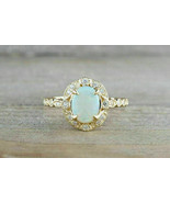 1.50Ct Oval Cut Opal Halo Vintage Women Engagement Ring 14k Yellow Gold ... - £87.60 GBP