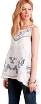 Anthropologie Embroidered Linen Tunic 10 Large White   Blue Johnny Was Style NWT - $136.47