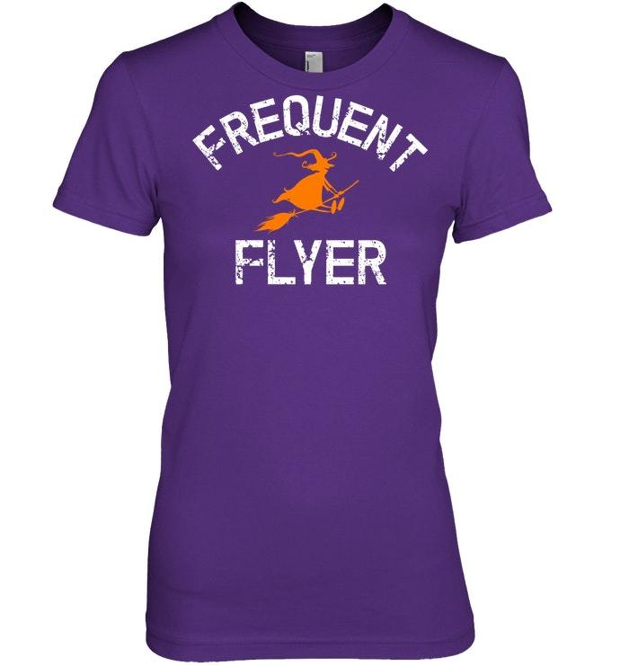 Funny Frequent Flyer Tshirt Witch Halloween Costume Fun