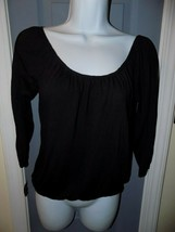 American Eagle Outfitters Black 3/4 Sleeve Elastic Bottom Shirt Size XS Women's - $17.94