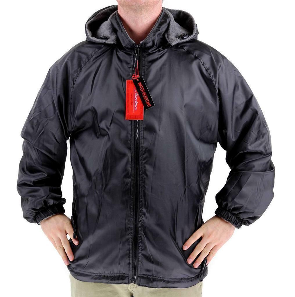 Lax Men's Water Resistant Removable Hood Security Reversible Jacket Black