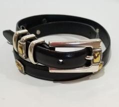 """Brighton Ladies Black Waist Belt Size S Silver Gold  44303 .75 """"W USA Se... - $17.75"""
