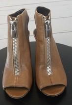 Nine West Brown Open Toe Zipper Wedges Shoes Womens Size 6M - $44.99