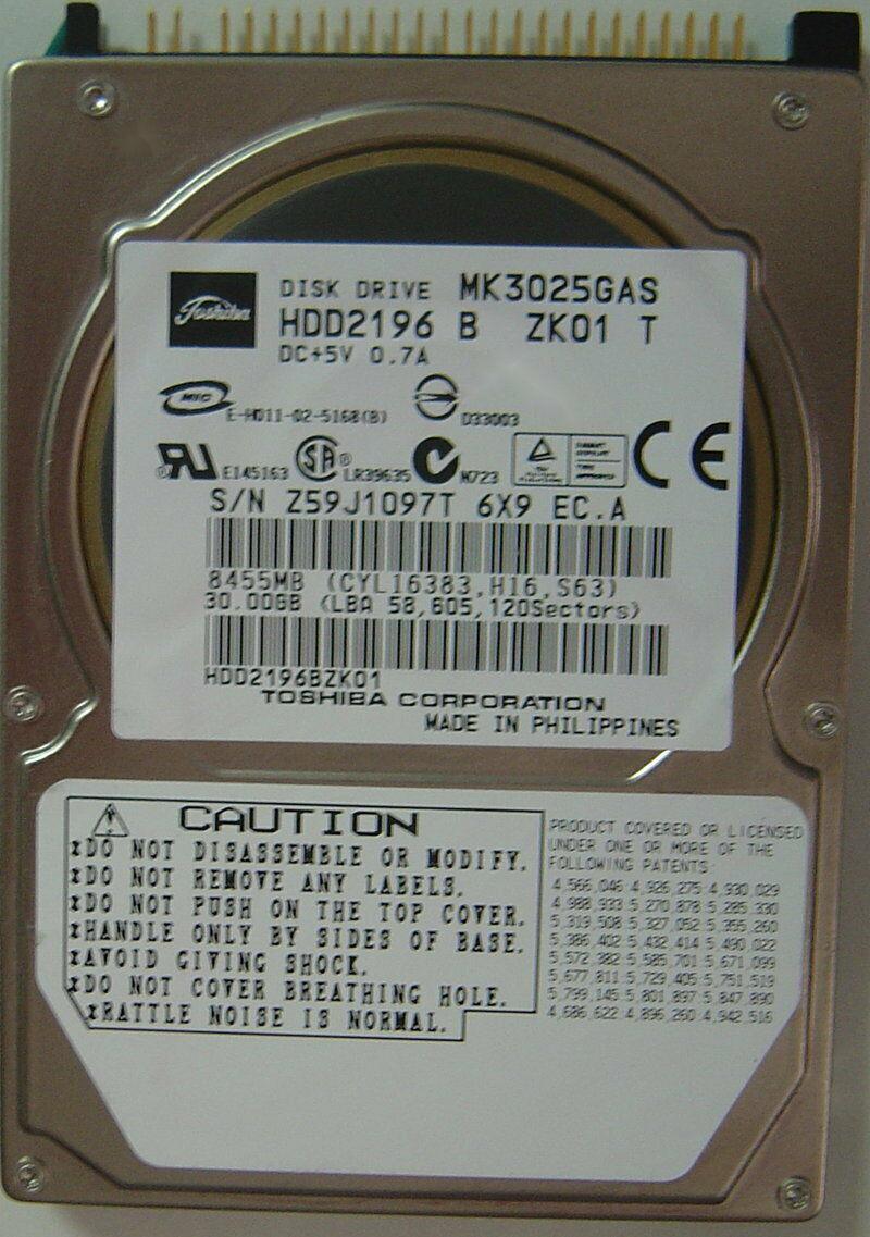 "NEW MK3025GAS Toshiba HDD2196 30GB 2.5"" IDE Hard Drive Free USA Ship"