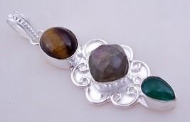 Tiger's Eye-Labradorite-Green Onyx Silver Overlay Pendant Jewelry 7 Gr.F-390 - $4.49