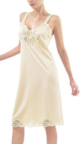 Ilusion Women's Nylon Full Slip with Lace Trim Adjustable Straps Plus Size 1112