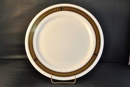 Vintage Pyrex Milk Glass Plates with Black and Gold Fleur de Lis Trim set of 4 - $37.39