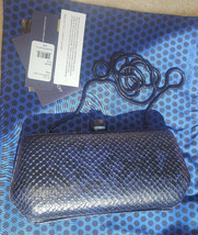 Rebecca Minkoff royal snake Fling Clutch leather Minaudiere black and bl... - $92.94 CAD