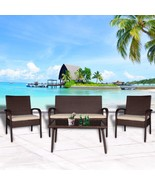 4 PC Wicker Rattan Patio Set Outdoor Detachable Sofa Glass Table Lovesea... - $219.99