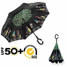 ABCCANOPY Inverted Umbrella,Double Layer Reverse Rain&Wind Teflon Repell... - $28.01