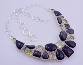 Silver Sheen Obsidian-Peridot-Lemon Silver Overlay Necklace  Fo-122-5 - $28.80