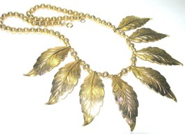 LARGE LEAF LEAVES VINTAGE CHAIN BEADED MIXED METAL GOLD TONE NECKLACE - $70.00
