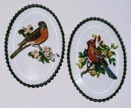 Vintage Hand Painted Beveled Glass Bird Wall Hanging Copper Chain Cardin... - $12.38