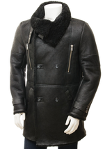 Men's New Black Sem-Matte Finished Sheepskin Shearling Coat QMJ114 - $699.00