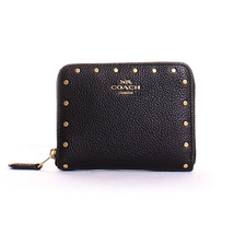Coach Border Rivets Pebble Leather Zip Around Wallet, Black $125 - $76.50