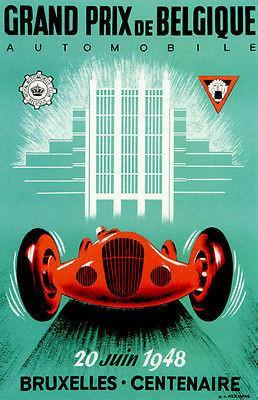 Primary image for 1948 Grand Prix of Belgium Race - Promotional Advertising Poster