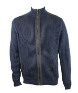 Calvin Klein Men's Fisherman Ribbed Knit Sweater, Navy, Size XL - $24.74