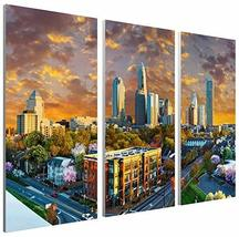 "Pingo World 0817QHZR0RS ""Charlotte Sunset Skyline"" Gallery Wrapped Canvas Tripty - $138.59"