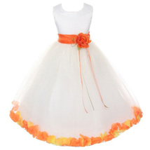 White Satin Bodice Layers Tulle Skirt Orange Flower Ribbon Brooch and Petals - $48.00