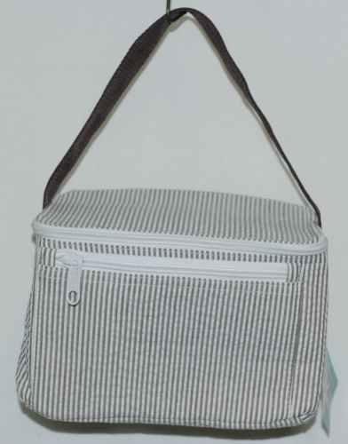 Oh Mint 1603737STRIPE Chocolate and White Stripe Seersucker Lunchbox